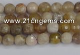 CAG9852 15.5 inches 4mm faceted round ocean fossil agate beads