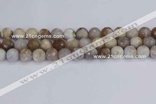 CAG9856 15.5 inches 12mm faceted round ocean fossil agate beads
