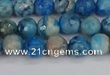 CAG9883 15.5 inches 6mm faceted round blue crazy lace agate beads