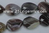 CAG989 15.5 inches 13*18mm faceted flat teardrop botswana agate beads