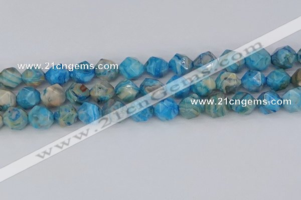 CAG9960 15.5 inches 12mm faceted nuggets blue crazy lace agate beads