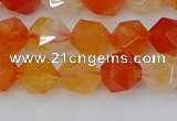 CAG9976 15.5 inches 8mm faceted nuggets red agate beads