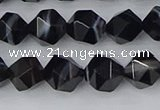 CAG9982 15.5 inches 8mm faceted nuggets black line agate beads