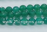 CAJ03 15.5 inches 8mm faceted round green aventurine jade beads