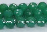 CAJ05 15.5 inches 12mm faceted round green aventurine jade beads