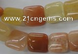 CAJ114 15.5 inches 14*14mm square red aventurine jade beads