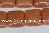 CAJ156 15.5 inches 20*20mm square red aventurine jade beads