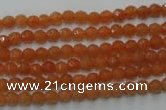 CAJ360 15.5 inches 4mm faceted round red aventurine beads wholesale