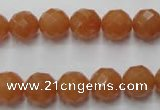 CAJ363 15.5 inches 10mm faceted round red aventurine beads wholesale