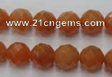 CAJ364 15.5 inches 12mm faceted round red aventurine beads wholesale