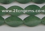 CAJ667 15.5 inches 10*20mm twisted rice green aventurine beads