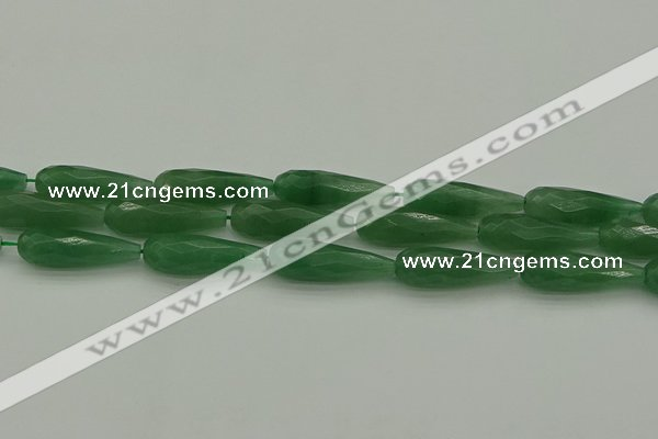 CAJ708 15.5 inches 10*30mm faceted teardrop green aventurine beads