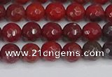 CAJ759 15.5 inches 6mm faceted round apple jasper beads