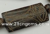 CAL14 14.5 inches 28*60mm carved rectangle agalmatolite beads
