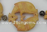 CAL29 14.5 inches 54*56mm carved fish agalmatolite beads