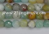 CAM1458 15.5 inches 4mm faceted round amazonite beads wholesale