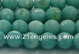 CAM1522 15.5 inches 8mm faceted round natural peru amazonite beads