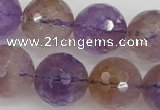 CAN155 15.5 inches 14mm faceted round natural ametrine beads