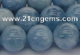 CAQ532 15.5 inches 14mm round AA+ grade natural aquamarine beads