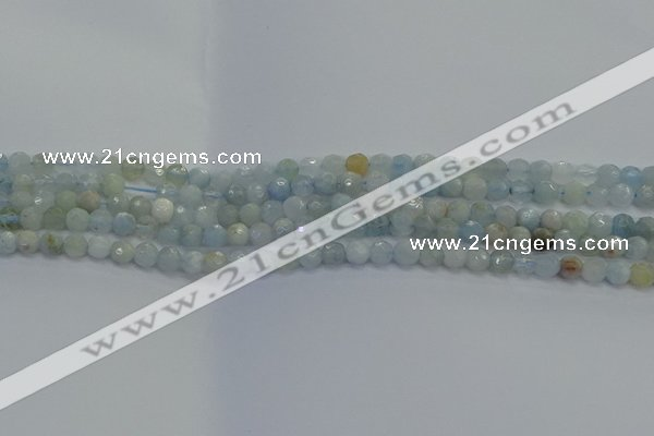 CAQ551 15.5 inches 4mm faceted round natural aquamarine beads