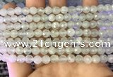 CAQ875 15.5 inches 6mm faceted round aquamarine gemstone beads