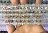 CAQ876 15.5 inches 8mm faceted round aquamarine gemstone beads
