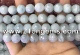 CAQ879 15.5 inches 11mm faceted round aquamarine gemstone beads