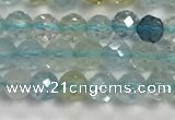 CAQ883 15.5 inches 3.5mm faceted round tiny aquamarine beads