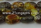 CAR546 15.5 inches 7*11mm - 8*12mm oval natural amber beads