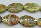 CAT125 15.5 inches 18*25mm oval dyed natural aqua terra jasper beads