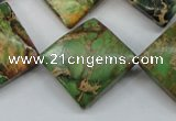 CAT134 22*22mm twisted diamond dyed natural aqua terra jasper beads