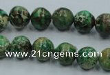 CAT221 15.5 inches 14mm round dyed natural aqua terra jasper beads