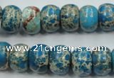CAT63 15.5 inches 10*14mm rondelle dyed natural aqua terra jasper beads