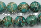 CAT77 15.5 inches 14mm round dyed natural aqua terra jasper beads