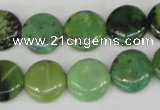 CAU38 15.5 inches 14mm flat round australia chrysoprase beads wholesale