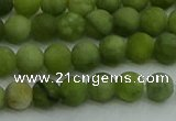 CAU510 15.5 inches 4mm round matte Chinese chrysoprase beads