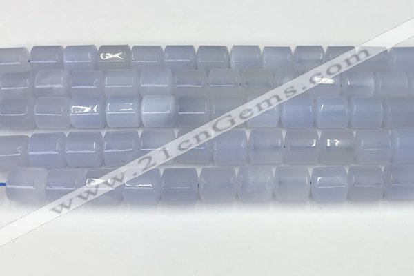CBC824 15.5 inches 10*11mm tube blue chalcedony gemstone beads