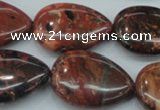 CBD03 15.5 inches 22*30mm flat teardrop brecciated jasper gemstone beads