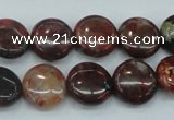 CBD05 15.5 inches 15mm flat round brecciated jasper gemstone beads