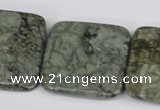 CBD245 15.5 inches 30*30mm faceted square green brecciated jasper beads