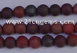 CBD361 15.5 inches 6mm round matte poppy jasper beads wholesale