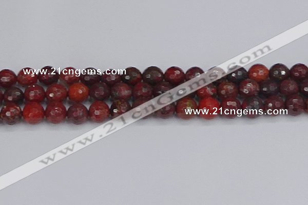 CBD379 15.5 inches 12mm faceted round poppy jasper beads