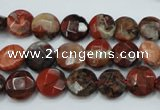 CBD45 15.5 inches 10mm faceted coin brecciated jasper gemstone beads