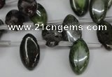 CBG25 Top-drilled 10*18mm marquise bronze green gemstone beads