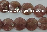 CBQ243 15.5 inches 14mm faceted coin strawberry quartz beads