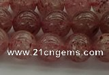 CBQ303 15.5 inches 10mm round natural strawberry quartz beads