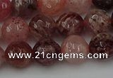 CBQ413 15.5 inches 10mm faceted round strawberry quartz beads