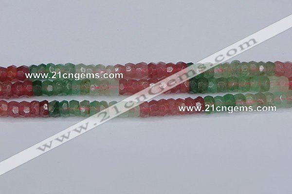 CBQ675 15.5 inches 4*7mm faceted rondelle mixed strawberry quartz beads