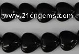 CBS232 15.5 inches 14*14mm heart blackstone beads wholesale