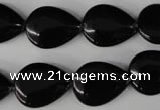 CBS265 15.5 inches 13*18mm flat teardrop blackstone beads wholesale